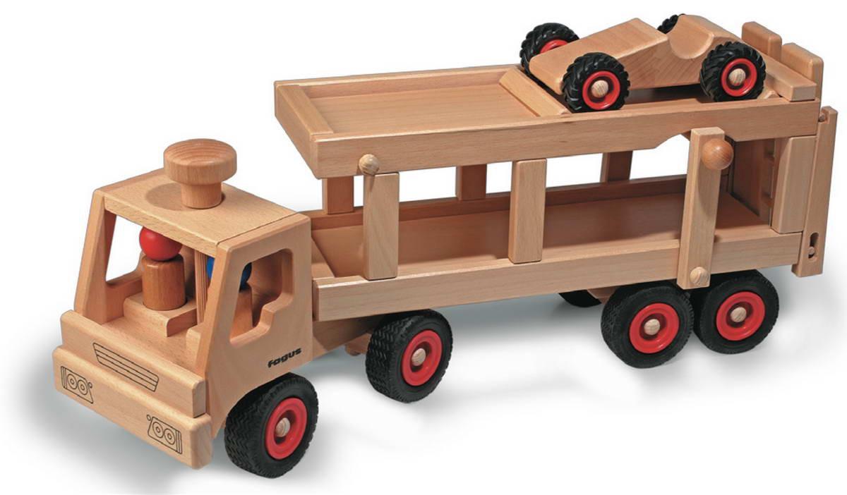 spielzeug autotransporter von fagus bei carelino - spielzeug mit